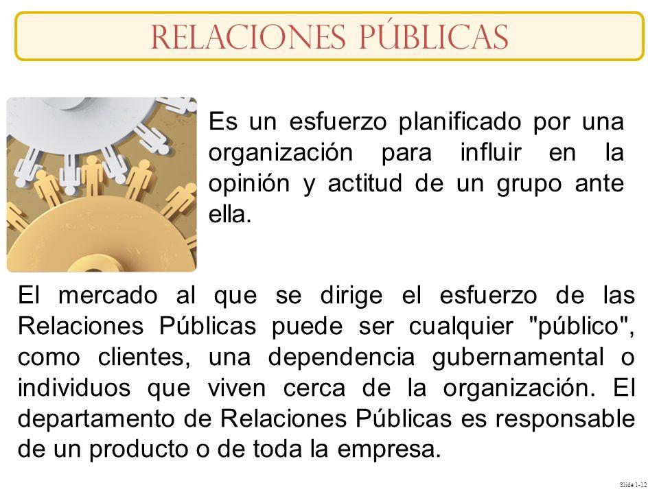 Slide 1-12 Es un esfuerzo planificado por una organización para influir en la opinión y actitud de un grupo ante ella. El mercado al que se dirige el
