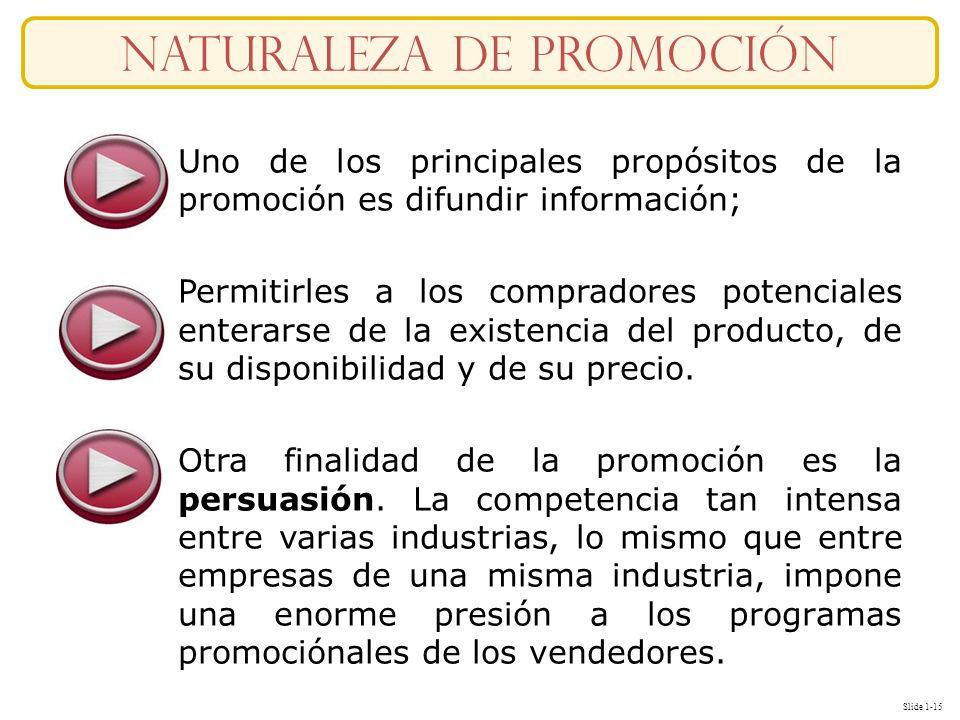 Slide 1-15 naturaleza DE Promoción Uno de los principales propósitos de la promoción es difundir información; Permitirles a los compradores potenciale