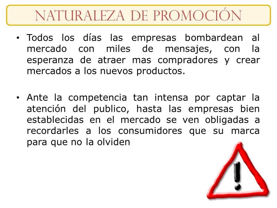 Slide 1-16 naturaleza DE Promoción Todos los días las empresas bombardean al mercado con miles de mensajes, con la esperanza de atraer mas compradores