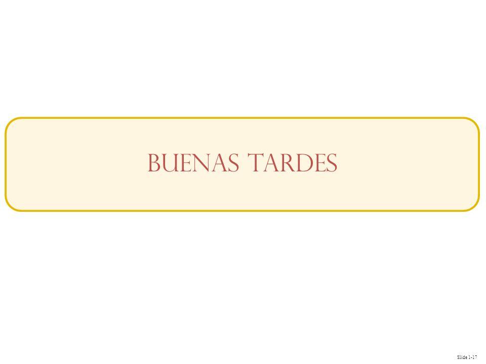 Slide 1-17 Buenas Tardes