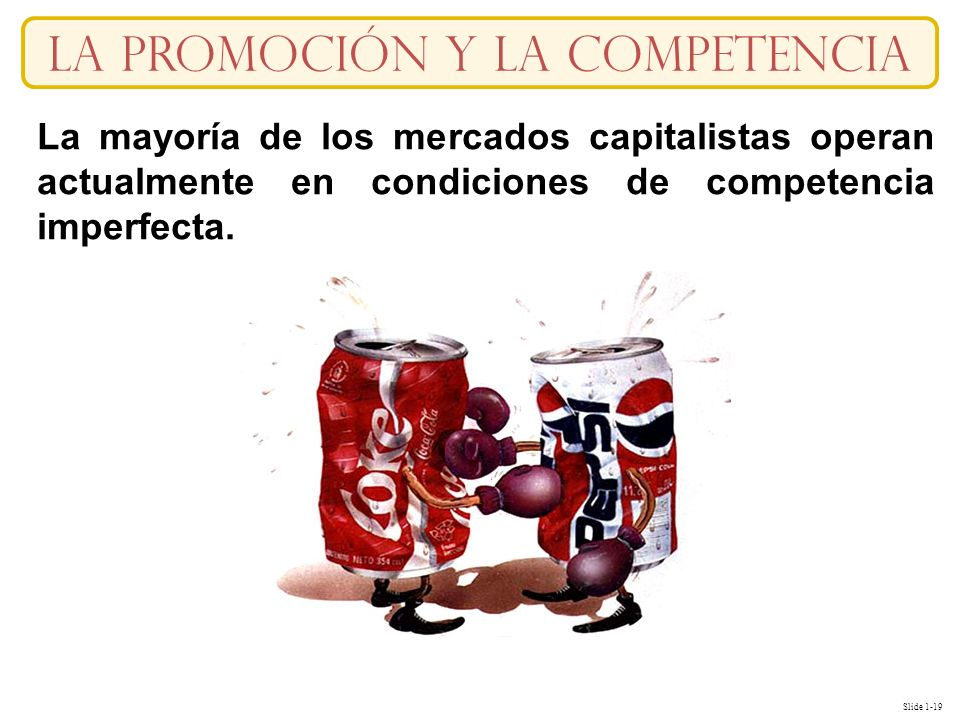 Slide 1-19 La Promoción y la competencia La mayoría de los mercados capitalistas operan actualmente en condiciones de competencia imperfecta.