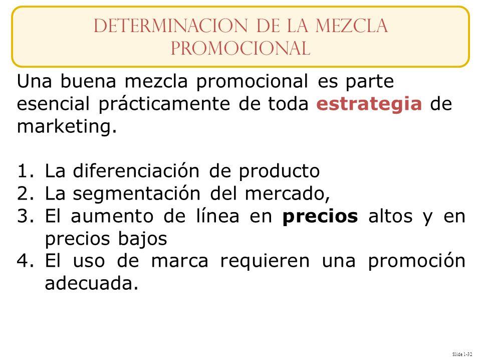 Slide 1-32 Una buena mezcla promocional es parte esencial prácticamente de toda estrategia de marketing. 1.La diferenciación de producto 2.La segmenta