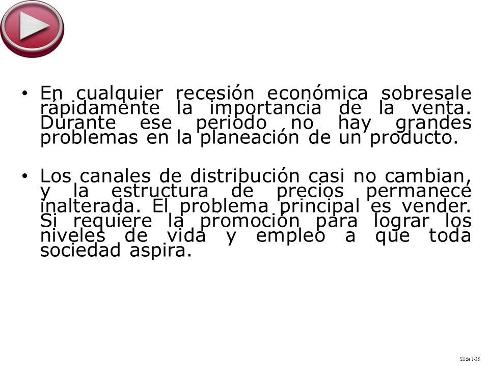 Slide 1-35 En cualquier recesión económica sobresale rápidamente la importancia de la venta. Durante ese periodo no hay grandes problemas en la planea