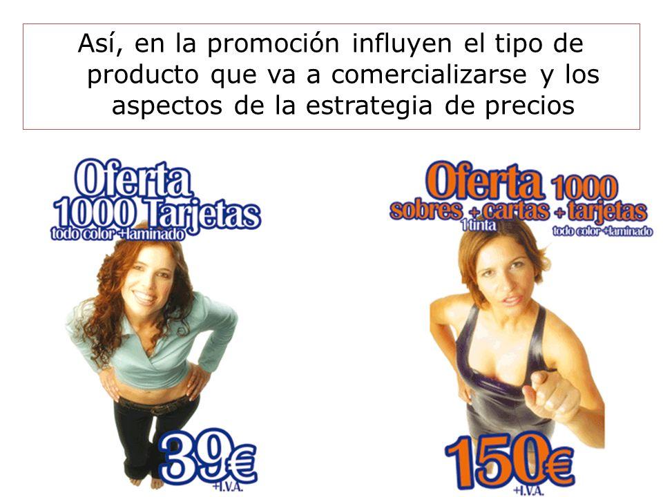 Slide 1-40 Así, en la promoción influyen el tipo de producto que va a comercializarse y los aspectos de la estrategia de precios