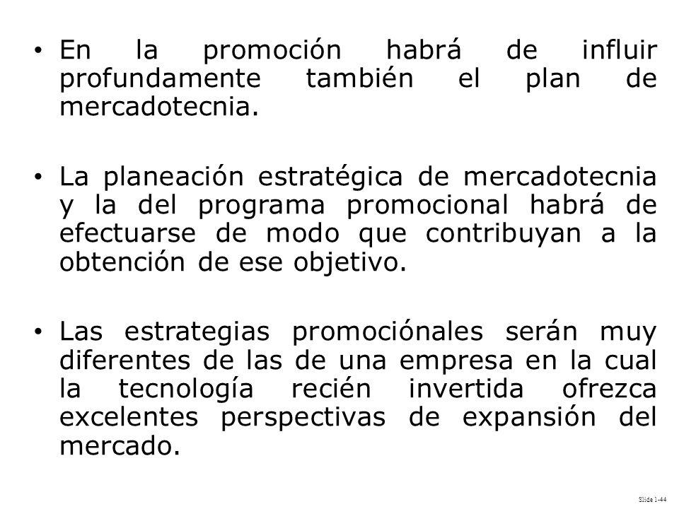 Slide 1-44 En la promoción habrá de influir profundamente también el plan de mercadotecnia. La planeación estratégica de mercadotecnia y la del progra