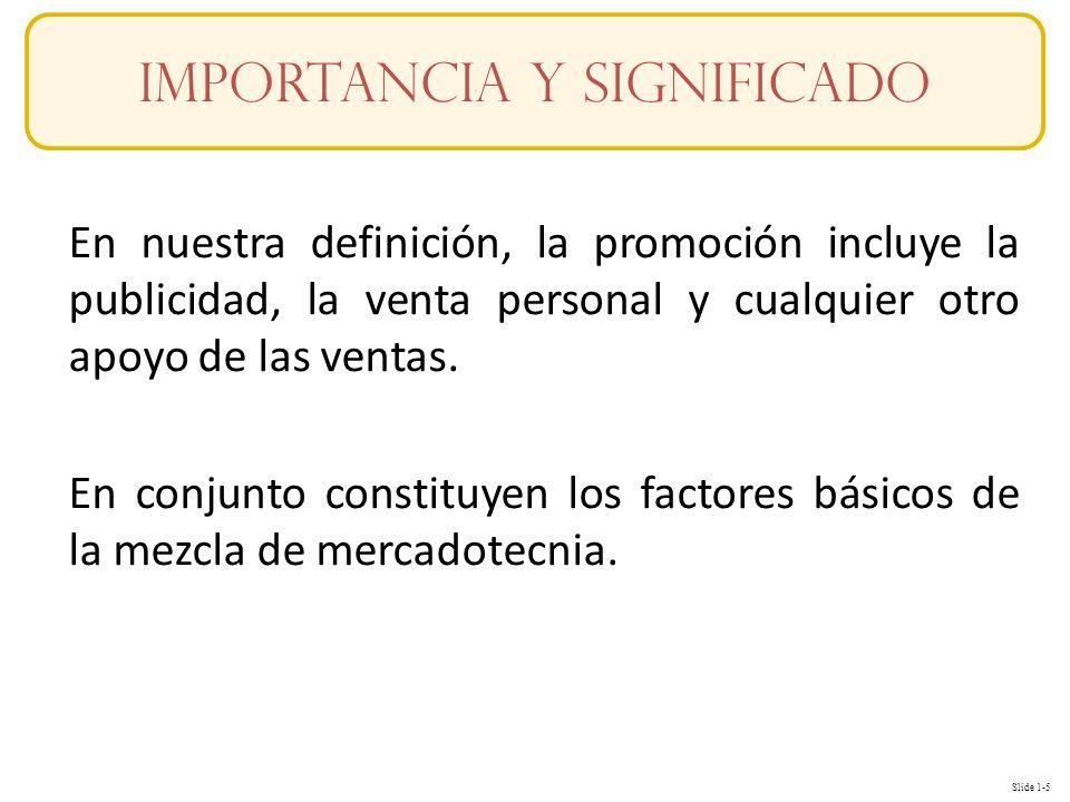 Slide 1-5 En nuestra definición, la promoción incluye la publicidad, la venta personal y cualquier otro apoyo de las ventas. En conjunto constituyen l