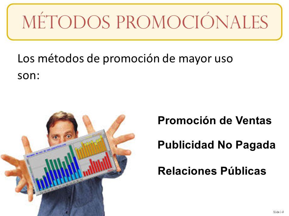Slide 1-9 Conceptos Los métodos de promoción de mayor uso son: Métodos promociónales Promoción de Ventas Publicidad No Pagada Relaciones Públicas