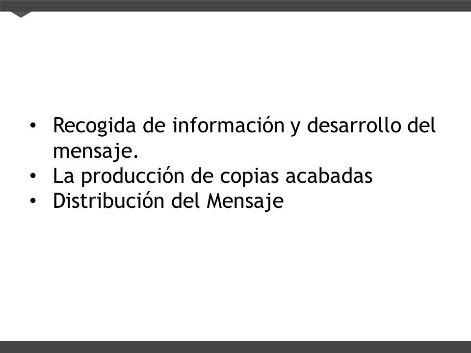 Recogida de información y desarrollo del mensaje. La producción de copias acabadas Distribución del Mensaje