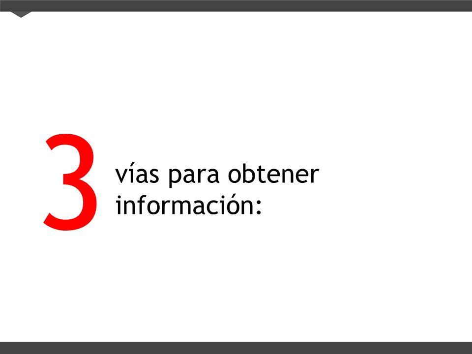 vías para obtener información: 3