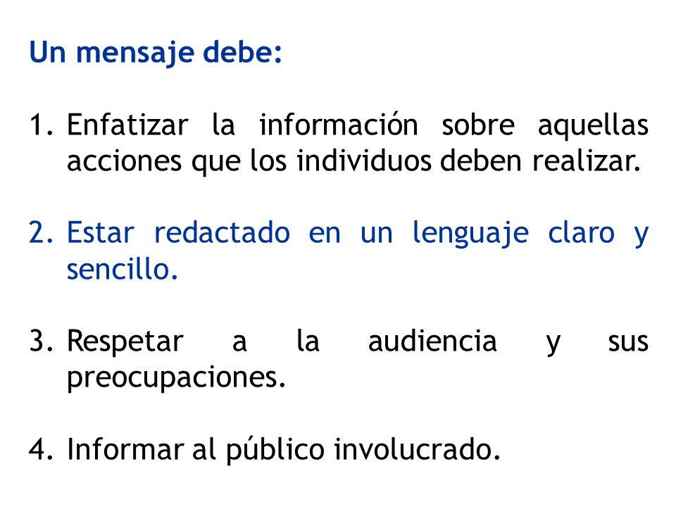 Un mensaje debe: 1.Enfatizar la información sobre aquellas acciones que los individuos deben realizar. 2.Estar redactado en un lenguaje claro y sencil