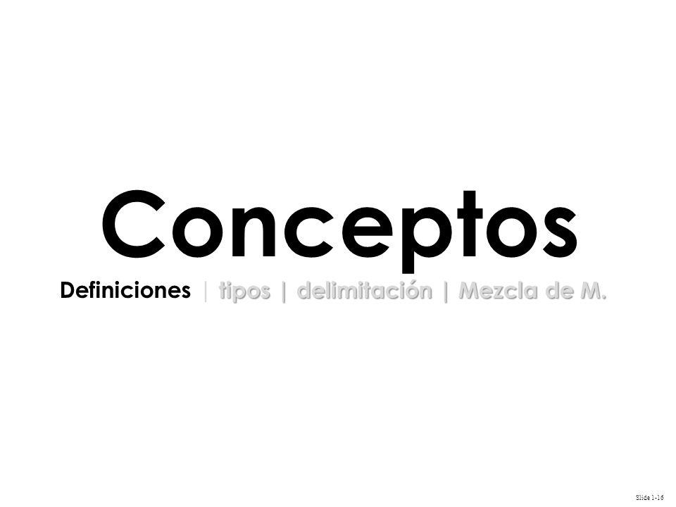 Slide 1-16 Conceptos tipos | delimitación | Mezcla de M.