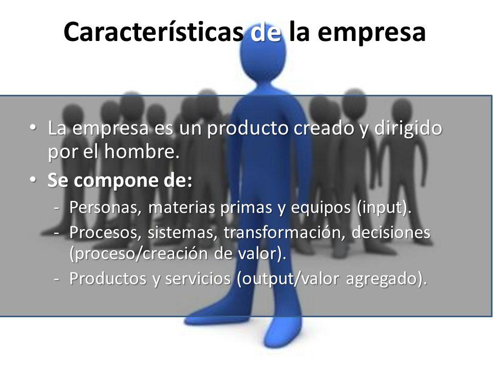 de Características de la empresa La empresa es un producto creado y dirigido por el hombre. La empresa es un producto creado y dirigido por el hombre.