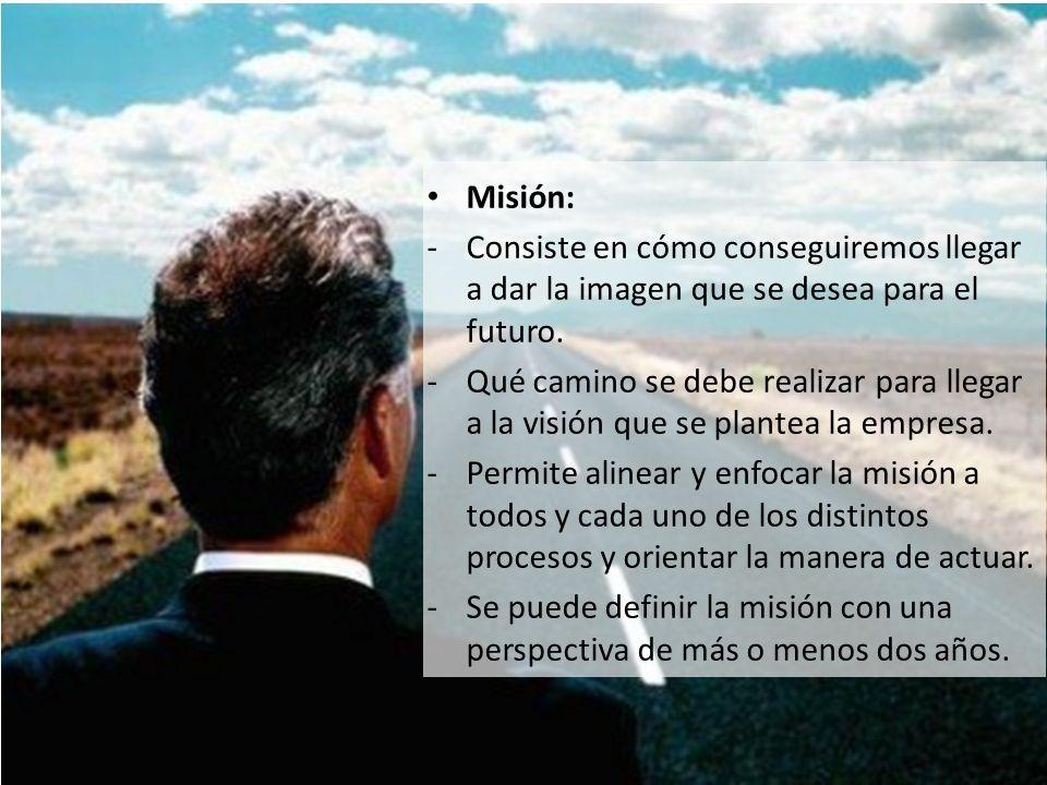 Misión: -Consiste en cómo conseguiremos llegar a dar la imagen que se desea para el futuro. -Qué camino se debe realizar para llegar a la visión que s