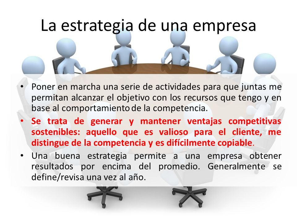 La estrategia de una empresa Poner en marcha una serie de actividades para que juntas me permitan alcanzar el objetivo con los recursos que tengo y en