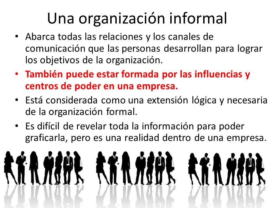 Una organización informal Abarca todas las relaciones y los canales de comunicación que las personas desarrollan para lograr los objetivos de la organ