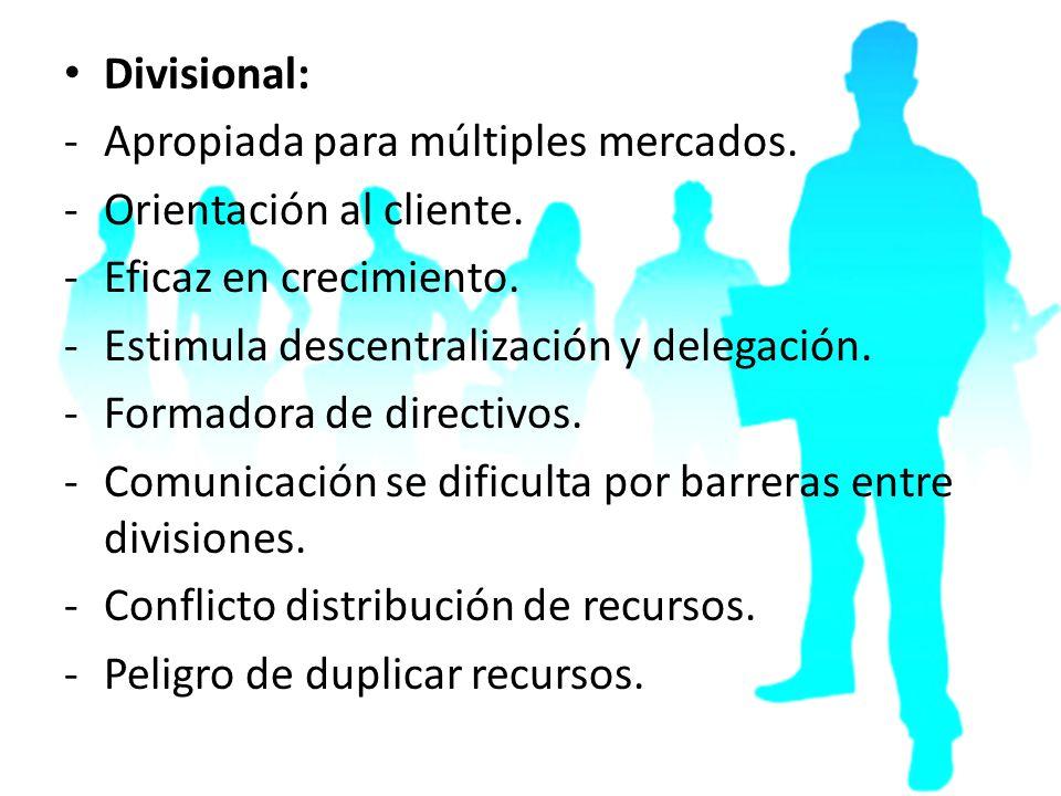 Divisional: -Apropiada para múltiples mercados. -Orientación al cliente. -Eficaz en crecimiento. -Estimula descentralización y delegación. -Formadora