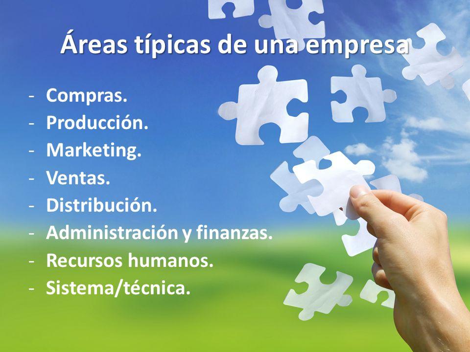 Áreas típicas de una empresa -Compras. -Producción. -Marketing. -Ventas. -Distribución. -Administración y finanzas. -Recursos humanos. -Sistema/técnic