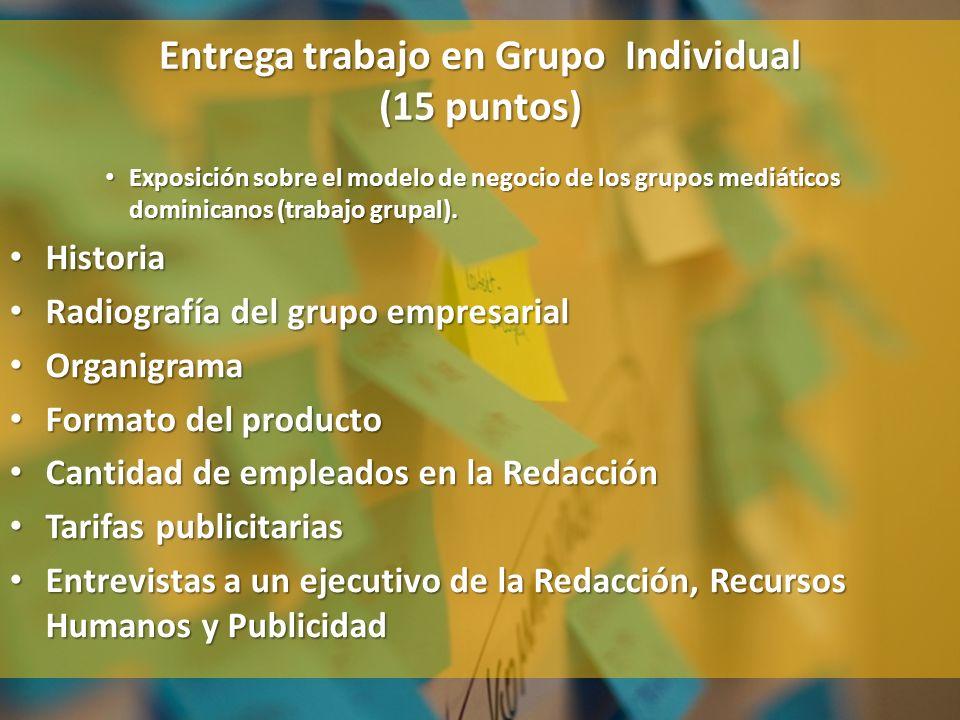 Exposición sobre el modelo de negocio de los grupos mediáticos dominicanos (trabajo grupal). Exposición sobre el modelo de negocio de los grupos mediá