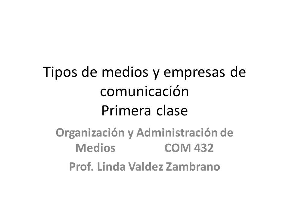 Tipos de medios y empresas de comunicación Primera clase Organización y Administración de Medios COM 432 Prof.