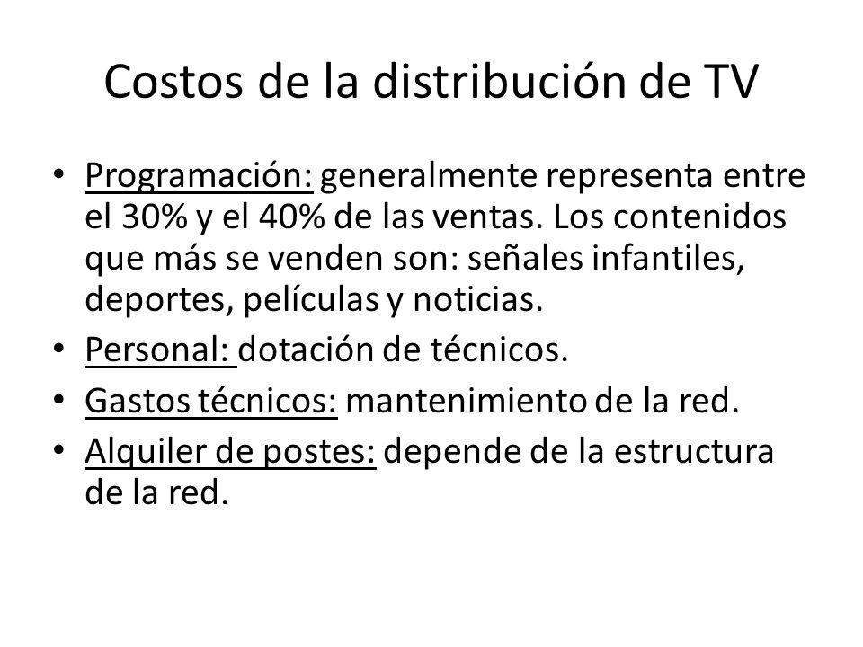 Costos de la distribución de TV Programación: generalmente representa entre el 30% y el 40% de las ventas.