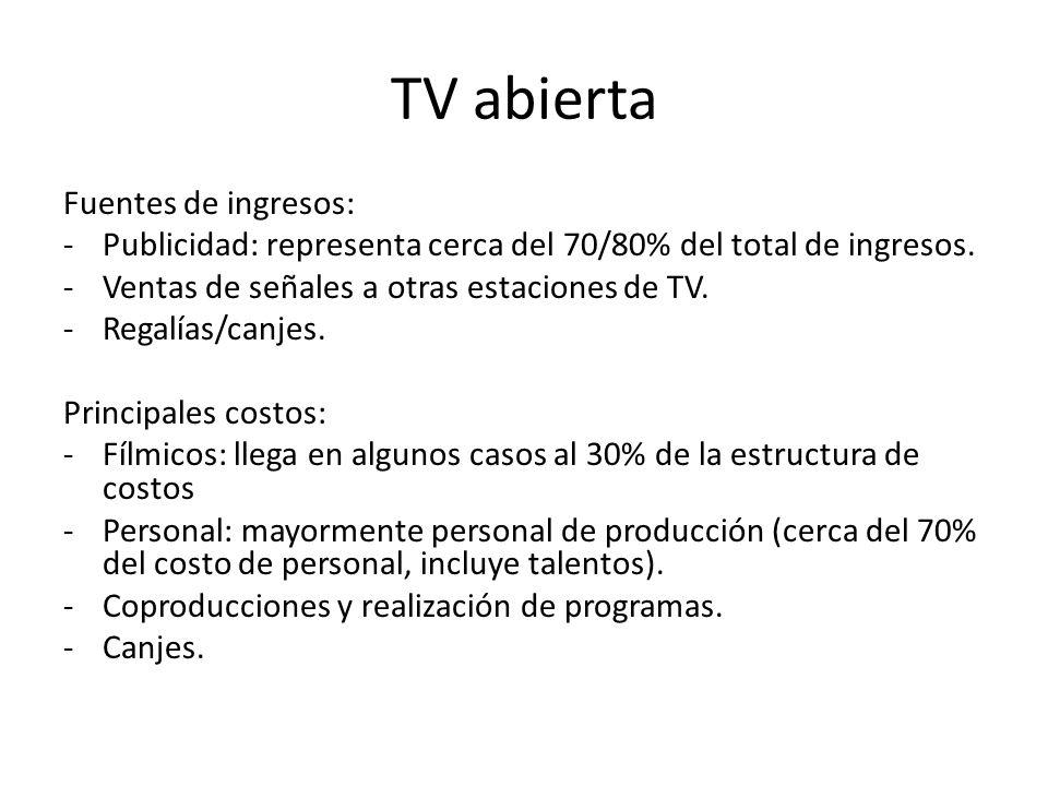TV abierta Fuentes de ingresos: -Publicidad: representa cerca del 70/80% del total de ingresos.