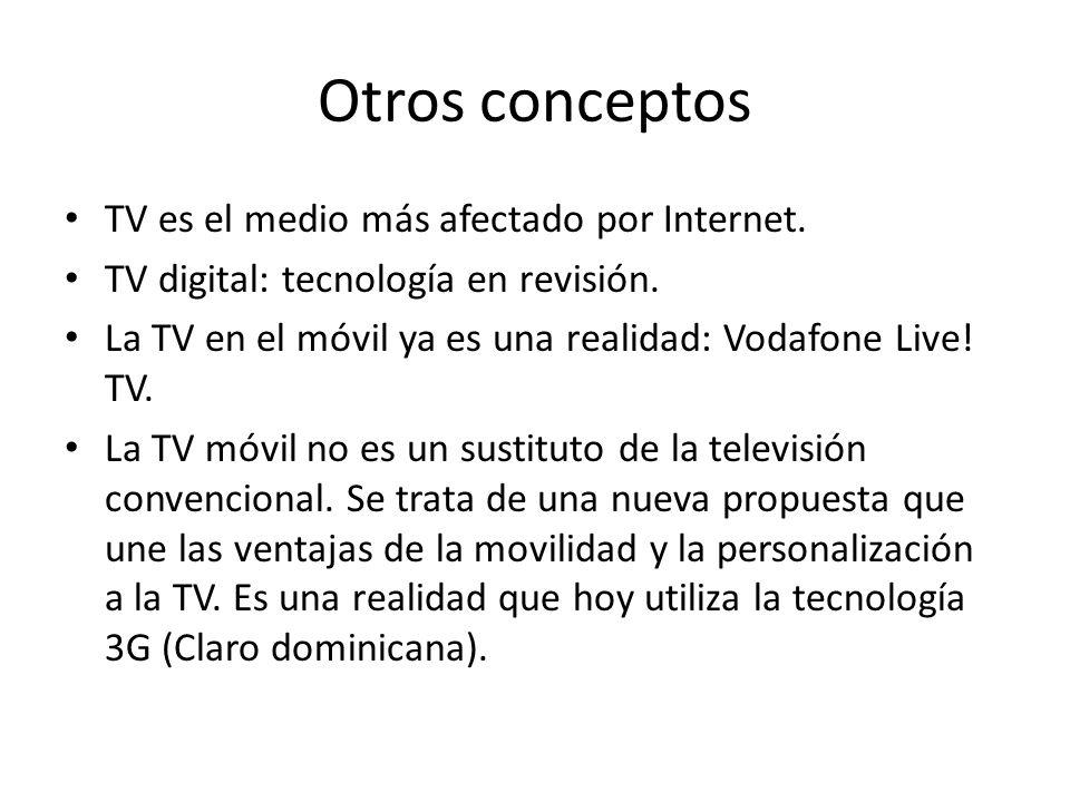 Otros conceptos TV es el medio más afectado por Internet.
