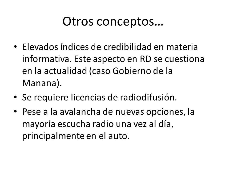 Otros conceptos… Elevados índices de credibilidad en materia informativa.