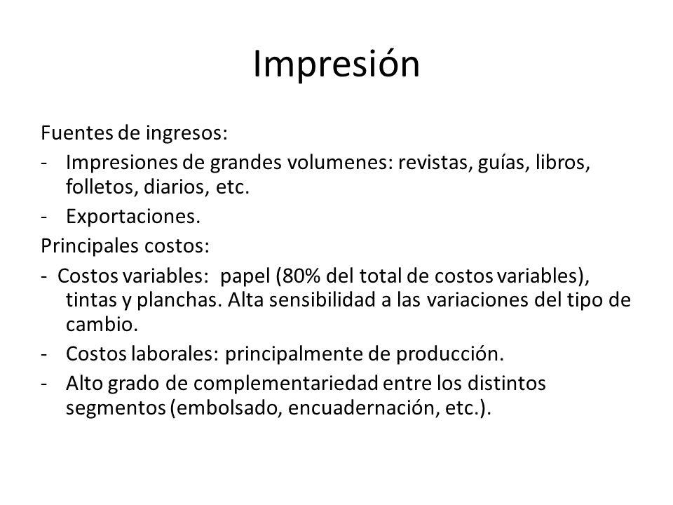Impresión Fuentes de ingresos: -Impresiones de grandes volumenes: revistas, guías, libros, folletos, diarios, etc.