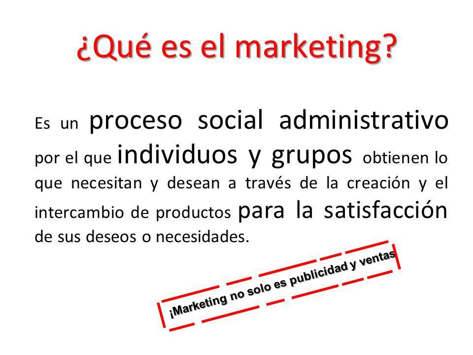 ¿Qué es el marketing? Es un proceso social administrativo por el que individuos y grupos obtienen lo que necesitan y desean a través de la creación y