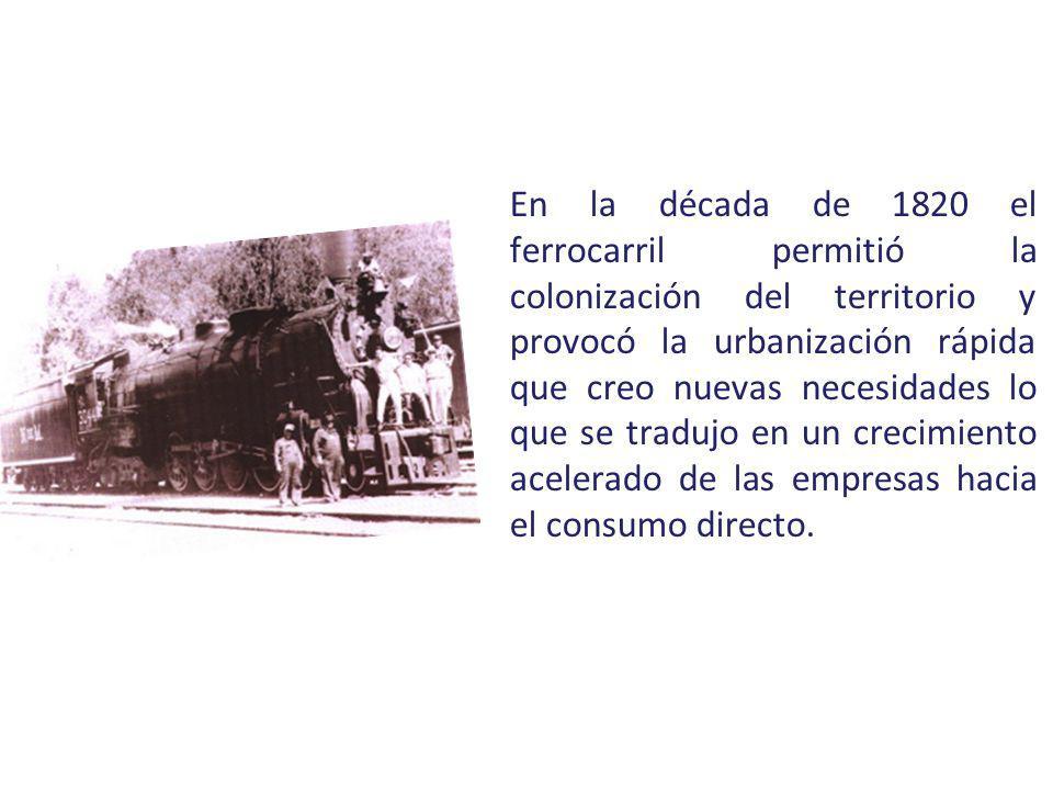 En la década de 1820 el ferrocarril permitió la colonización del territorio y provocó la urbanización rápida que creo nuevas necesidades lo que se tra