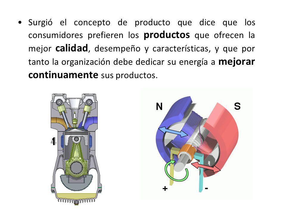 Surgió el concepto de producto que dice que los consumidores prefieren los productos que ofrecen la mejor calidad, desempeño y características, y que