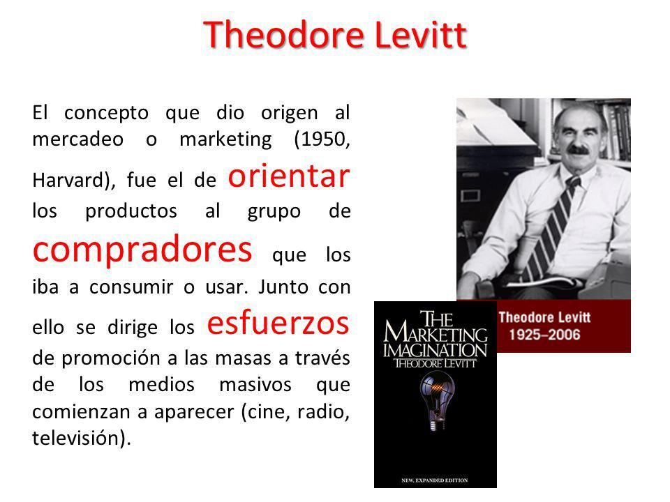 Theodore Levitt El concepto que dio origen al mercadeo o marketing (1950, Harvard), fue el de orientar los productos al grupo de compradores que los i