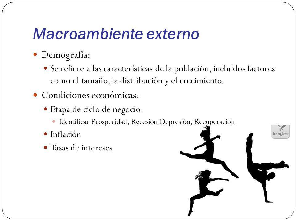 Macroambiente externo Demografía: Se refiere a las características de la población, incluidos factores como el tamaño, la distribución y el crecimient