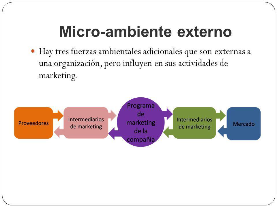 Micro-ambiente externo Hay tres fuerzas ambientales adicionales que son externas a una organización, pero influyen en sus actividades de marketing.