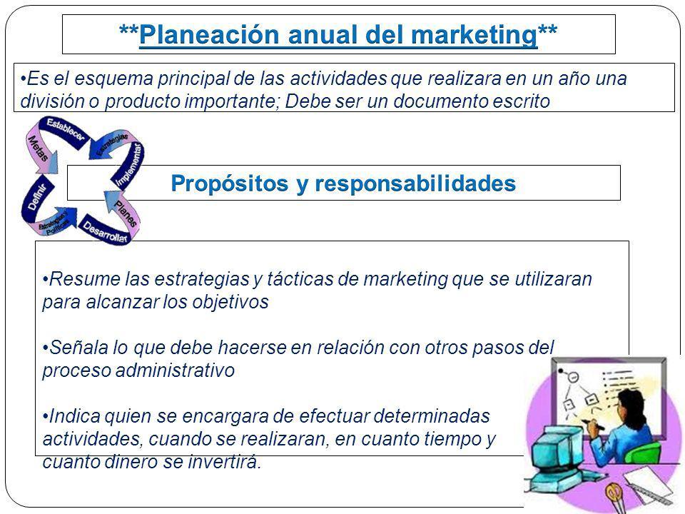 Es el esquema principal de las actividades que realizara en un año una división o producto importante; Debe ser un documento escrito Resume las estrat