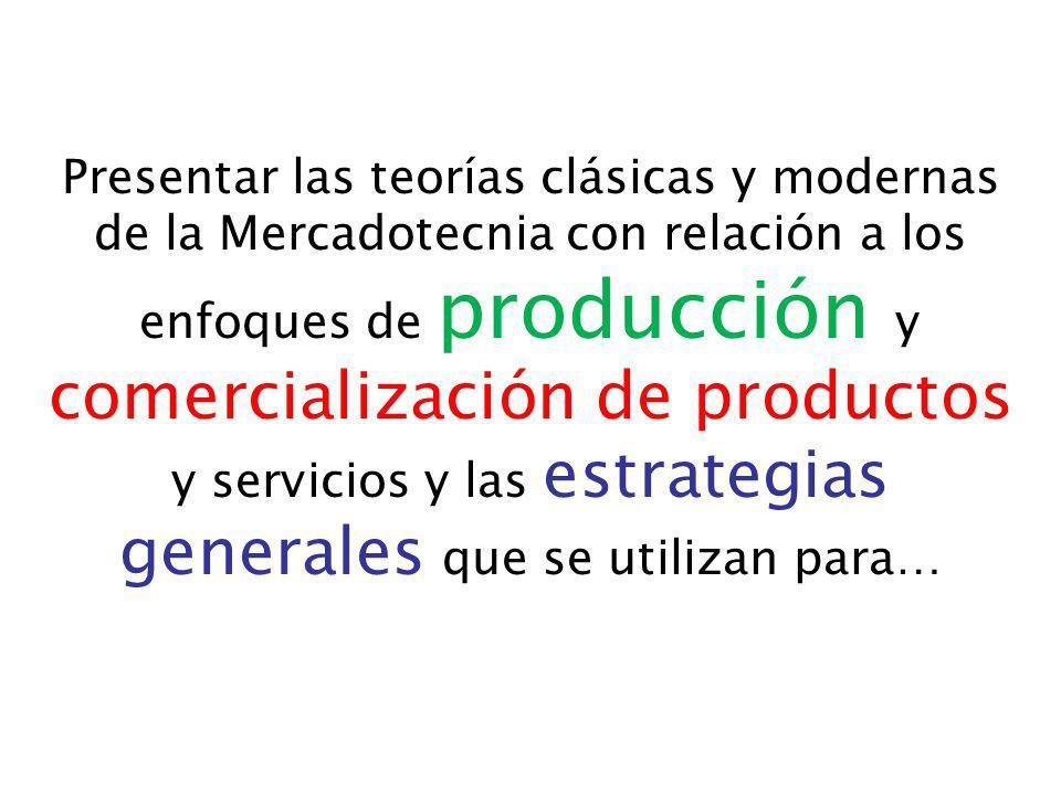 Presentar las teorías clásicas y modernas de la Mercadotecnia con relación a los enfoques de producción y comercialización de productos y servicios y