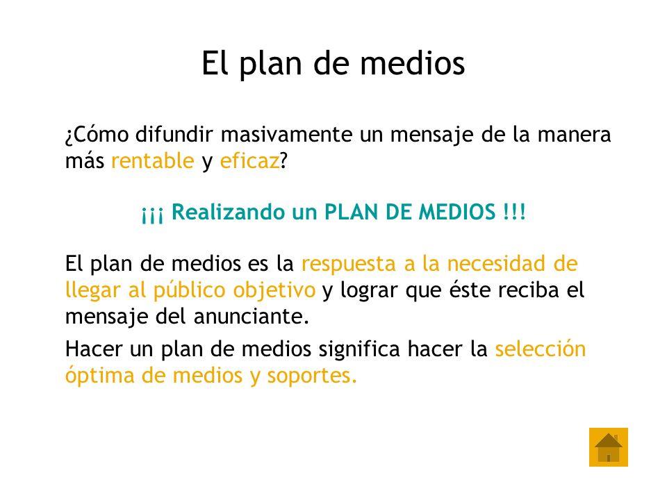 El plan de medios ¿Cómo difundir masivamente un mensaje de la manera más rentable y eficaz? ¡¡¡ Realizando un PLAN DE MEDIOS !!! El plan de medios es