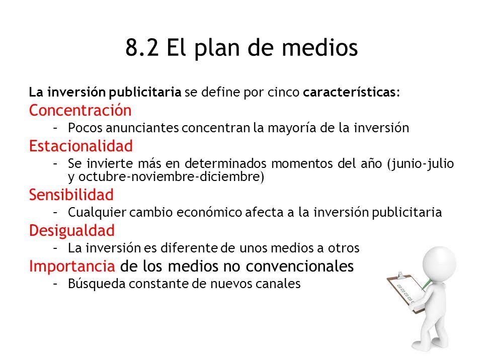 8.2 El plan de medios La inversión publicitaria se define por cinco características: Concentración –Pocos anunciantes concentran la mayoría de la inve
