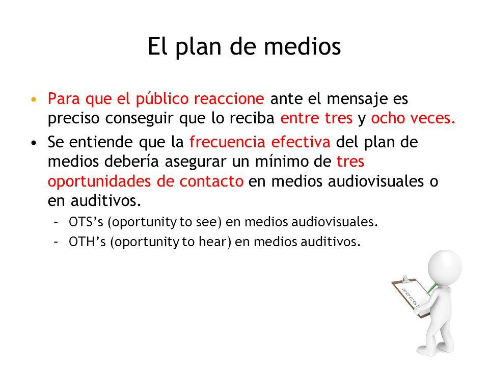 El plan de medios Para que el público reaccione ante el mensaje es preciso conseguir que lo reciba entre tres y ocho veces. Se entiende que la frecuen