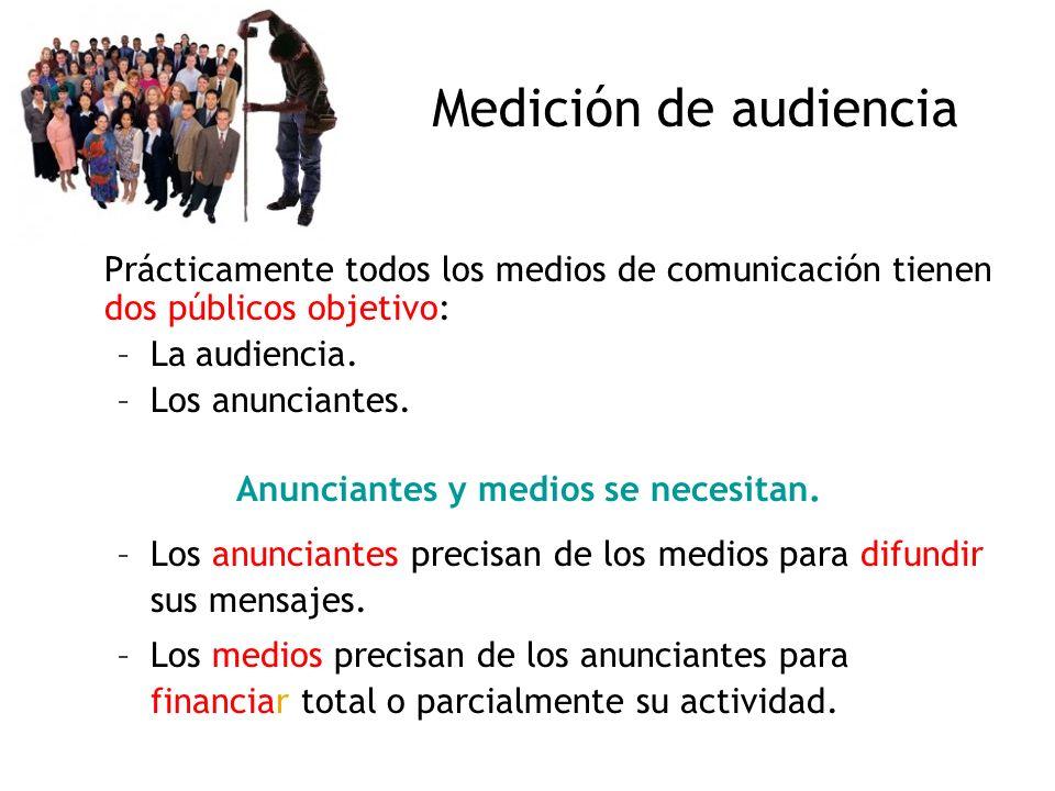 Medición de audiencia Prácticamente todos los medios de comunicación tienen dos públicos objetivo: –La audiencia. –Los anunciantes. Anunciantes y medi