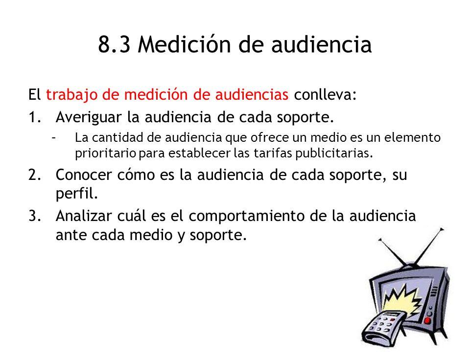 8.3 Medición de audiencia El trabajo de medición de audiencias conlleva: 1.Averiguar la audiencia de cada soporte. –La cantidad de audiencia que ofrec
