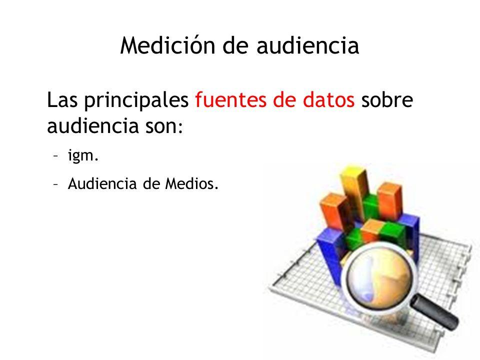 Medición de audiencia Las principales fuentes de datos sobre audiencia son : –igm. –Audiencia de Medios.