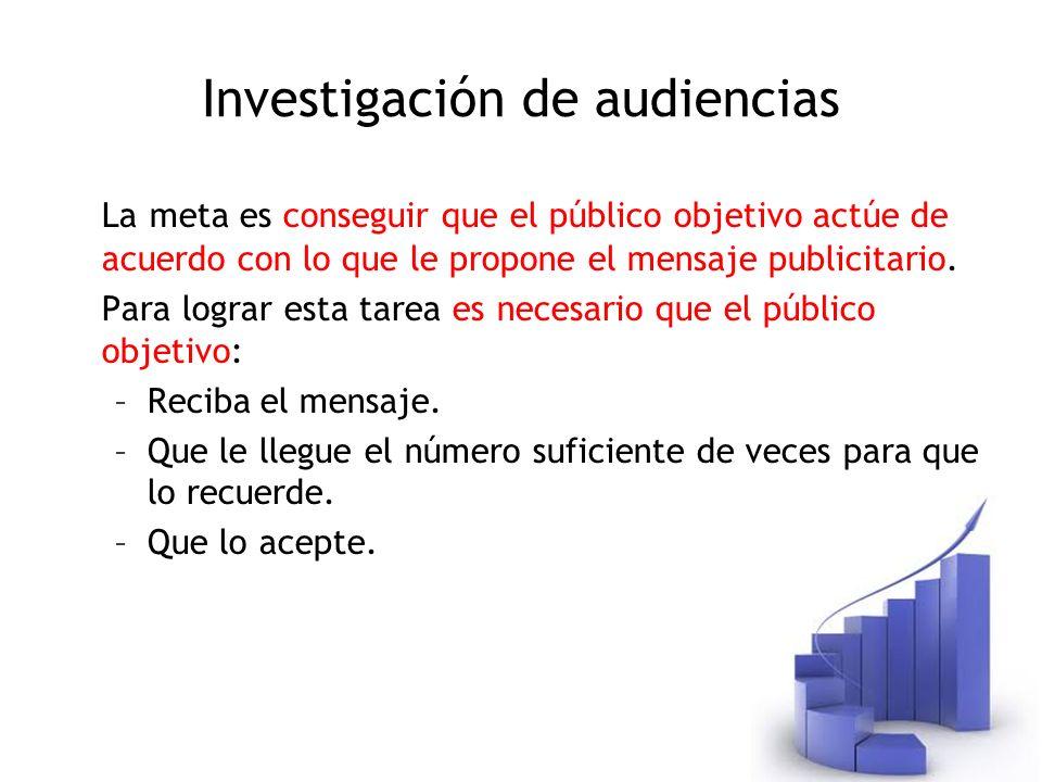 Investigación de audiencias La meta es conseguir que el público objetivo actúe de acuerdo con lo que le propone el mensaje publicitario. Para lograr e