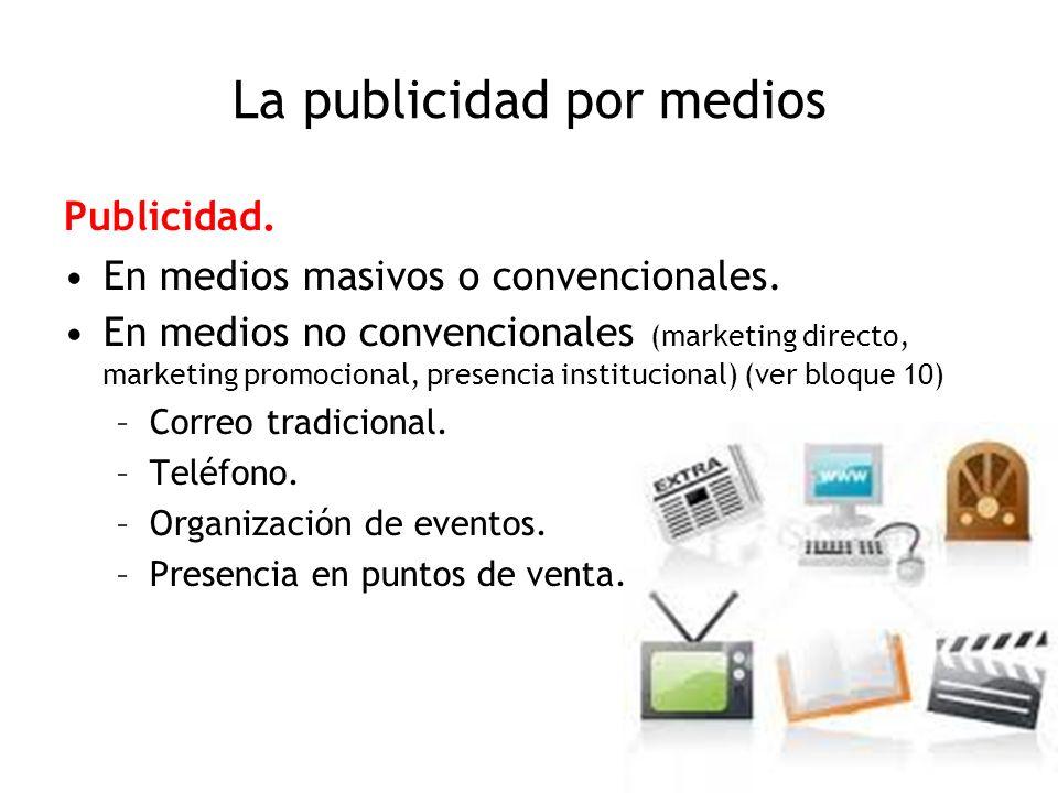 La publicidad por medios Publicidad. En medios masivos o convencionales. En medios no convencionales (marketing directo, marketing promocional, presen