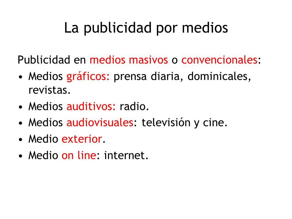 La publicidad por medios Publicidad en medios masivos o convencionales: Medios gráficos: prensa diaria, dominicales, revistas. Medios auditivos: radio