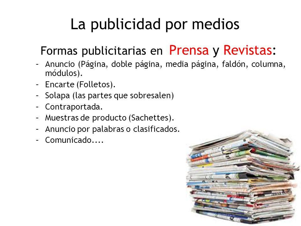 La publicidad por medios Formas publicitarias en Prensa y Revistas: –Anuncio (Página, doble página, media página, faldón, columna, módulos). –Encarte