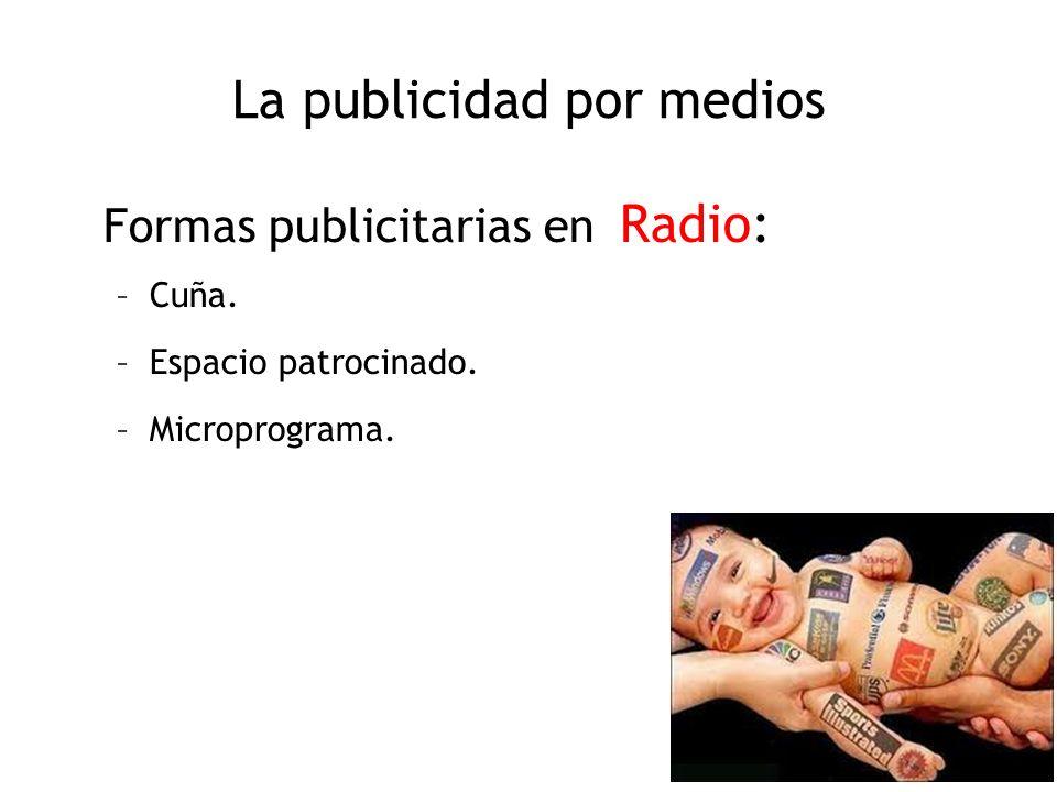 La publicidad por medios Formas publicitarias en Radio: –Cuña. –Espacio patrocinado. –Microprograma.
