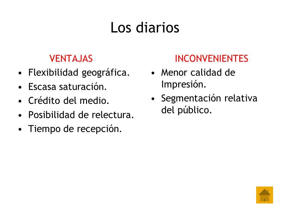 Los diarios VENTAJAS Flexibilidad geográfica. Escasa saturación. Crédito del medio. Posibilidad de relectura. Tiempo de recepción. INCONVENIENTES Meno