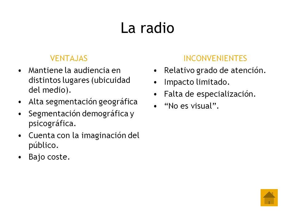 La radio VENTAJAS Mantiene la audiencia en distintos lugares (ubicuidad del medio). Alta segmentación geográfica Segmentación demográfica y psicográfi