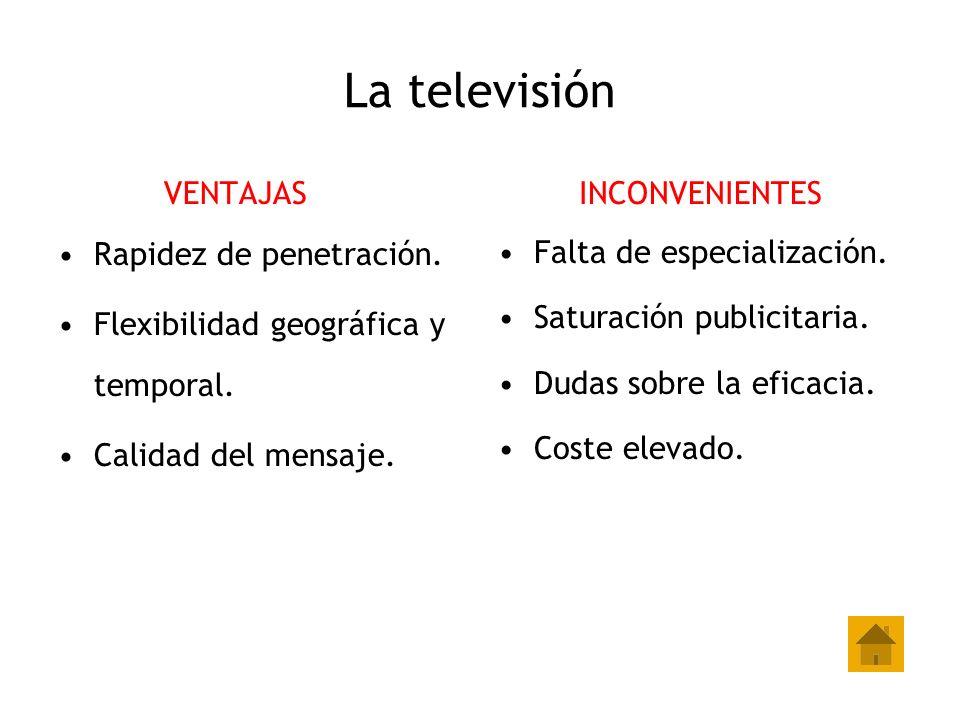 La televisión VENTAJAS Rapidez de penetración. Flexibilidad geográfica y temporal. Calidad del mensaje. INCONVENIENTES Falta de especialización. Satur